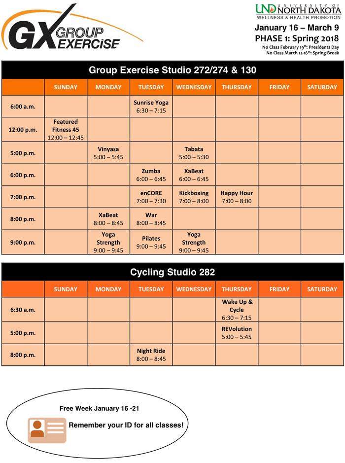 Group Exercise Class Schedule