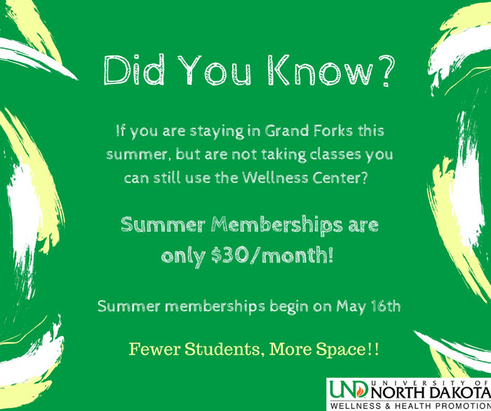 Summer Memberships available at the Wellness Center