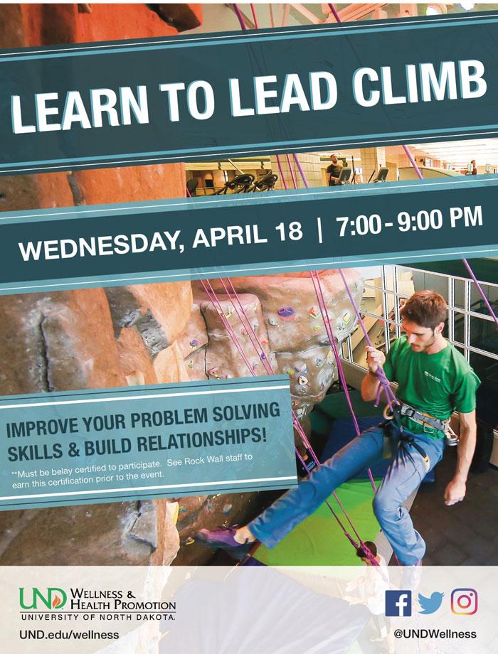 Learn to Lead Climb- Rock Wall Climbing Clinic