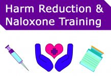 Picture of hands holding a heart, a vial, and a needle. Title: Harm Reduction and Naloxone Training