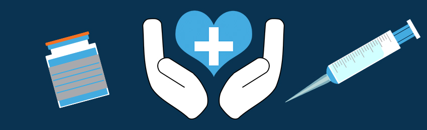 Graphics of needle, vial, and hands holding a heart with medical cross