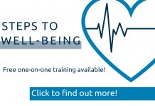 Graphic with a heart and heartbeat and click to find out more for Steps to Well-Being program