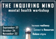 Image of a lighthouse with information about the inquiring mind workshop
