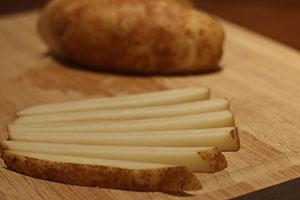 Potato sliced up
