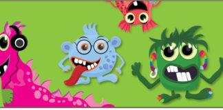 Four friendly cartoon monsters