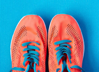 Bright colored sneakers