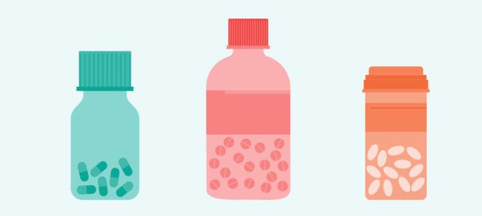 Illustration of colored pill bottles