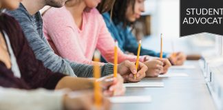 Student advocate: Row of students taking a test