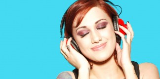 Female wearing headphones