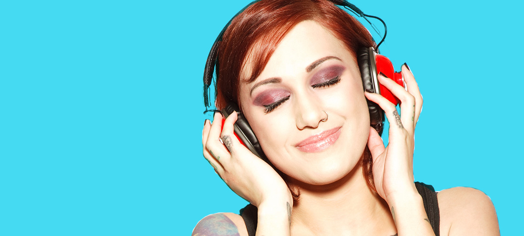 Female wearing headphones