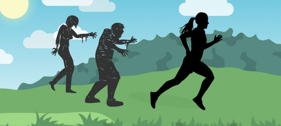 Illustration of female running (from zombies)