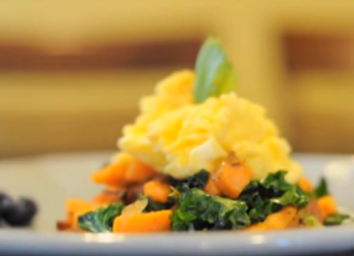Kale, scrambled eggs, and sweet potato hash
