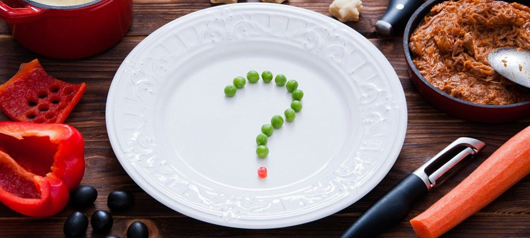 Plate with a question mark in the middle of it