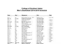 CSI Men's Basketball Schedule