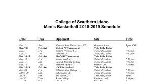 CSI Men's Basketball Schedule