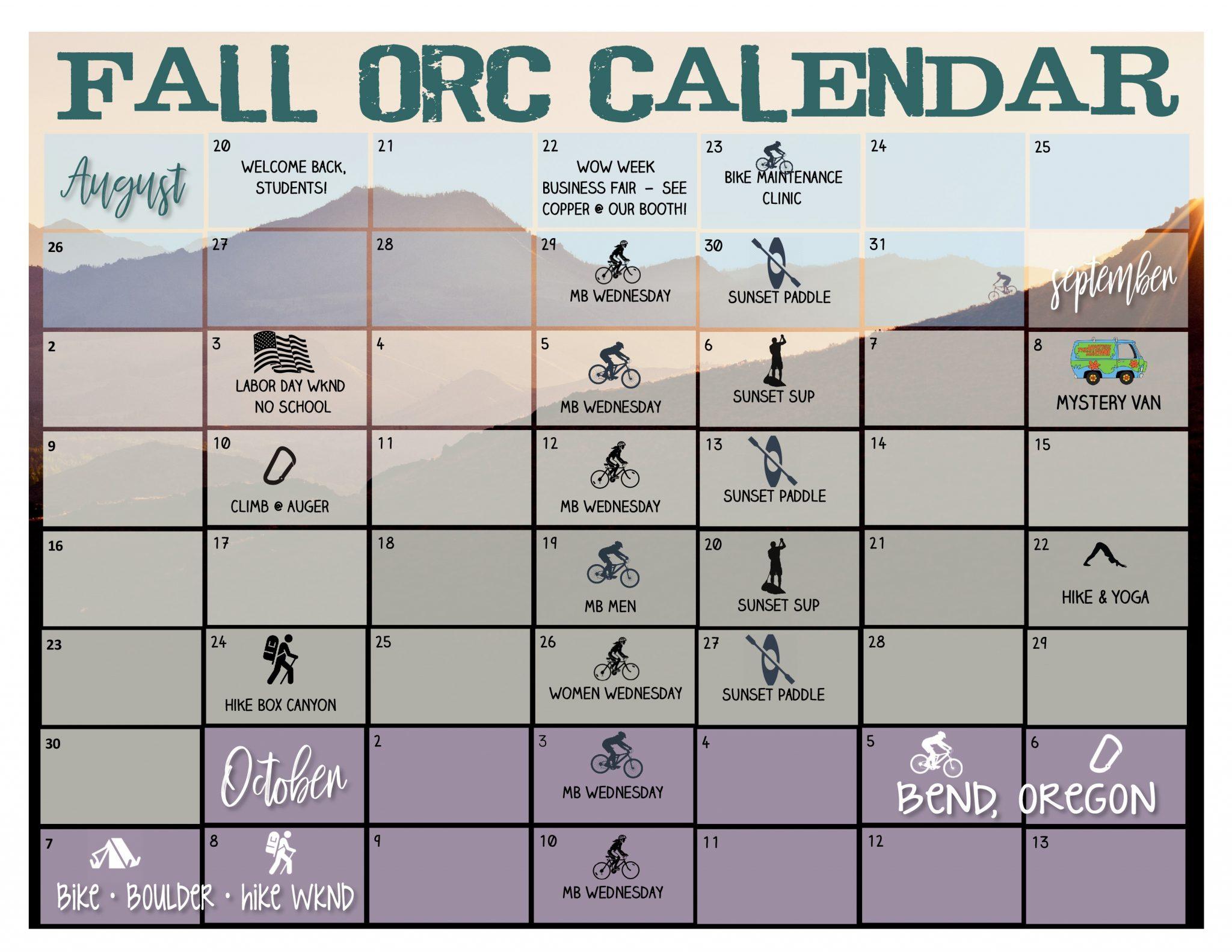 CSI Outdoor Recreation Center Fall 2018 Calendar