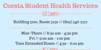 Cuesta Student Health Services ------------------SLO Campus------------------ Building 3100, Room 3150 // (805) 546-3171 ---------------------------------------------- Mon-Thurs // 8:30 am - 4:30 pm Fri//9:00am-1:00pm Tues Extended Hours // 4:30 - 6:00 pm ------------------NC Campus------------------ Building N3025 // (805) 546 - 3171 ---------------------------------------------- Mon & Weds// 2:00 pm - 6:00 pm Tues & Thurs // 11:00 am - 3:00 pm ---------------------------------------------- Primary Care Clinic Personal Therapy Walk-In Services Referrals Screenings & Wellness Clinics