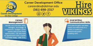 Are You Career Ready? Career Development Office Employers are looking to hire college students and recent graduates who know how to use their talents, sctraernegethrsd, aenvd@indterelmstsa. rT.heedseustudents are Career Ready. Career Development Del Mar College Career Management Identify and articulate skills, strengths, knowledge, & experiences; navigate career options and pursue these opportunities. Call and make an appointment with a Career Counselor today - 698-1916. Professionalism/ Work Ethic Demonstrate personal accountability and effective work habits: punctuality, working productively with others, time management, understanding the importance of a professional work image, and demonstrating integrity. Leadership Leverage the strengths of others to achieve common goals;organize, prioritize and delegate work; use empathetic skills to guide and motivate. Go to www.delmar.edu/placement or visit us on social media to and out about the Hire Vikings job portal, FREE workshops and software tools for you! Oral/Written Communication Skills Articulatethoughts and ideas clearly and effectively to a variety of audiences; demonstrate public speaking skills. Teamwork/ Collaboration Build collaborative relationships representing diverse cultures, races, ages, gender, religions, lifestyles, and viewpoints; work within team structure; negotiate/ manage conflicts. Critical Thinking/ Problem Solving Exercise sound reasoning and analytical thinking; use knowledge, facts, and data to solve problems and make career driven decisions. How do YOU become Career Ready? (361) 698-2317 Hire