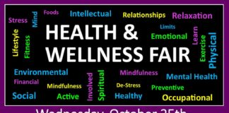 Stress, Relaxation, Foods, Intellectual, Relationships, Limits, Emotional, Mindfulness, Mental Health, De-Stress Preventive, Environmental, Financial, Mindfulness, Social Active, Healthy, Occupational, Involved, Spiritual, Lifestyle, Fitness, Mind, Exercise, Physical, Learn Wednesday, October 25th 10:00am-1:00pm Located at the Health, Education, Services, Center Vendors, prizes, FREE food, demonstrations, chair massages, health screenings & more!