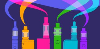 Colorful illustration of vaping deivces