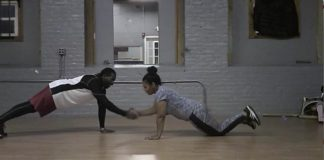 two people working out together