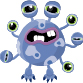 Blue monster with 7 eyes