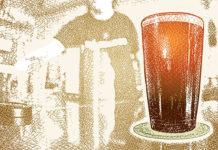 Illustration of beer glass on a bar