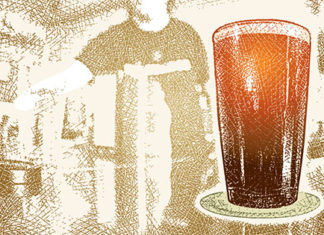 Illustration of beer glass on a bar
