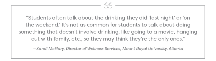 """Students often talk about the drinking they did 'last night' or 'on the weekend.' It's not as common for students to talk about doing something that doesn't involve drinking, like going to a movie, hanging out with family, etc., so they may think they're the only ones."" —Kandi McElary, Director of Wellness Services, Mount Royal University, Alberta"