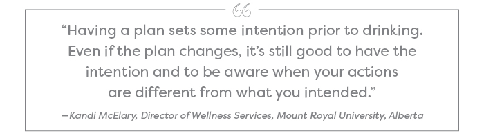 """Having a plan sets some intention prior to drinking. Even if the plan changes, it's still good to have the intention and to be aware when your actions are different from what you intended."" —Kandi McElary, Director of Wellness Services, Mount Royal University, Alberta"