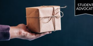 Student advocate: handing a gift box