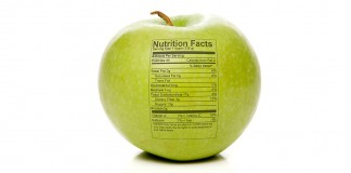 apple with nutrition chart