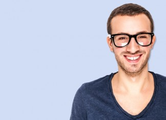 Happy man with glasses