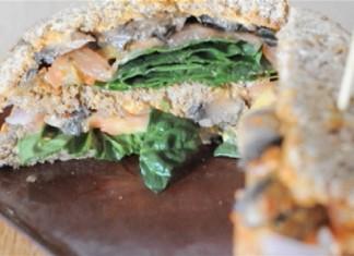 Better-than-steak-and-cheese vegan triple decker sandwich