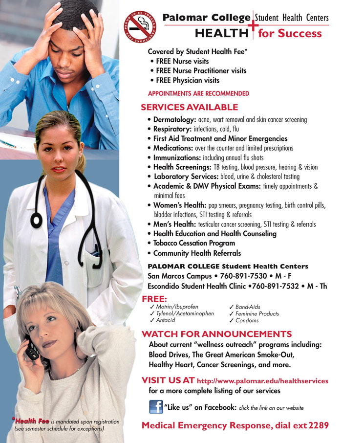 All about Palomar College Student Health Centers