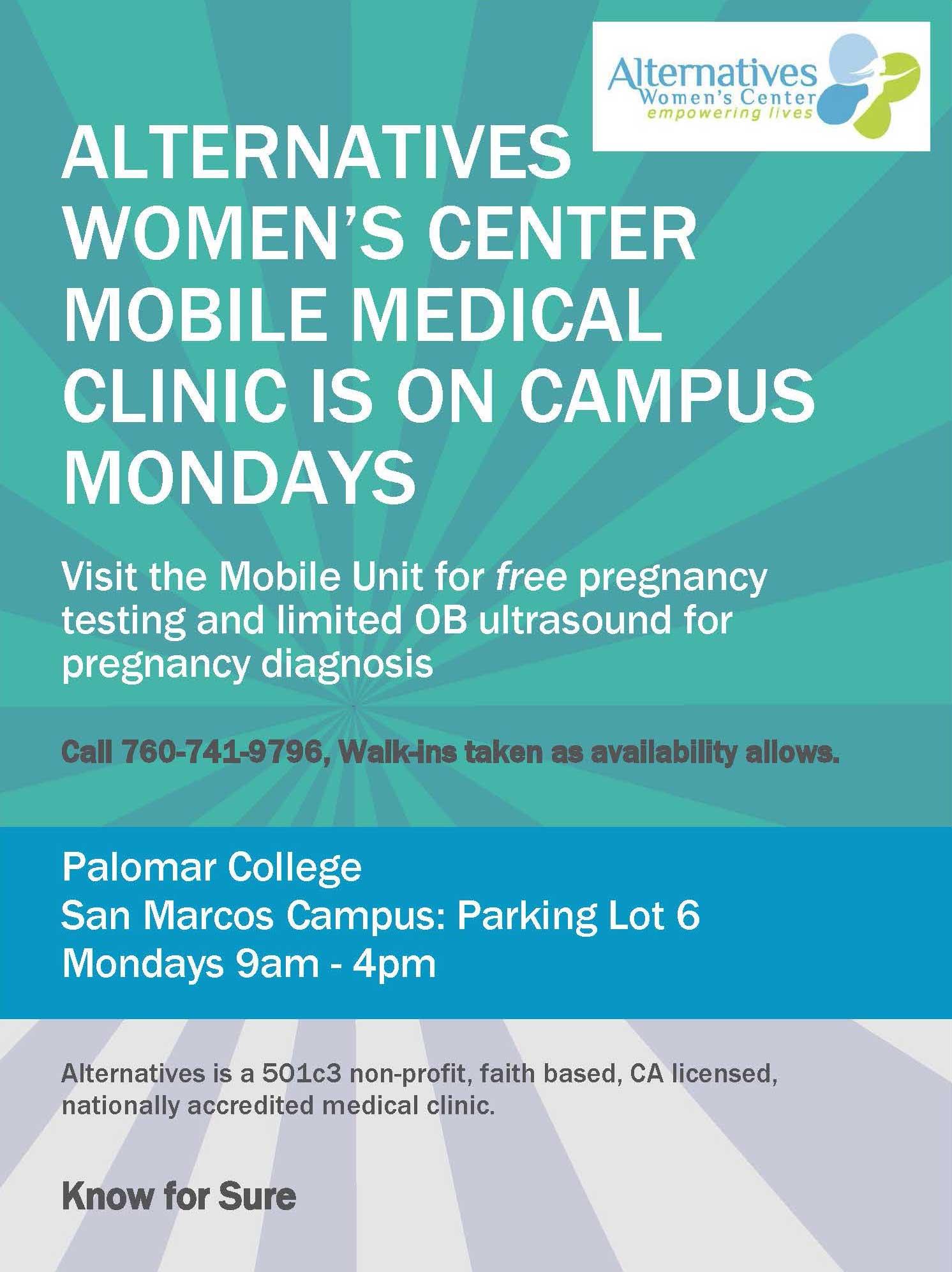 Free Pregnancy Testing on Mondays