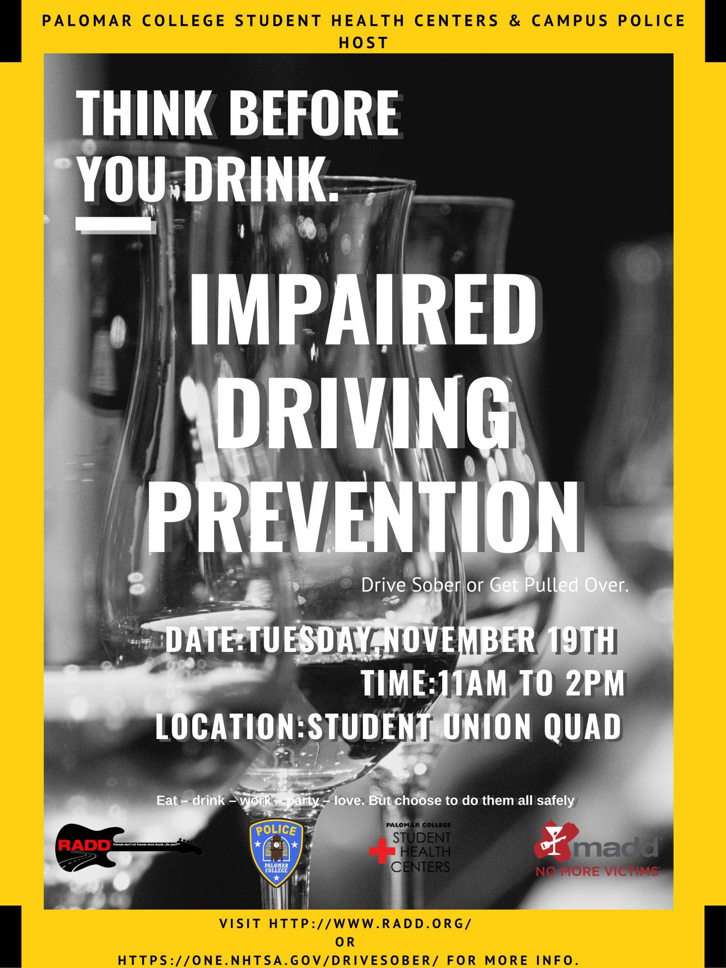 Impaired Driving Prevention Event - Nov. 19