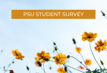 yellow flowers with the word PSU Student Survey