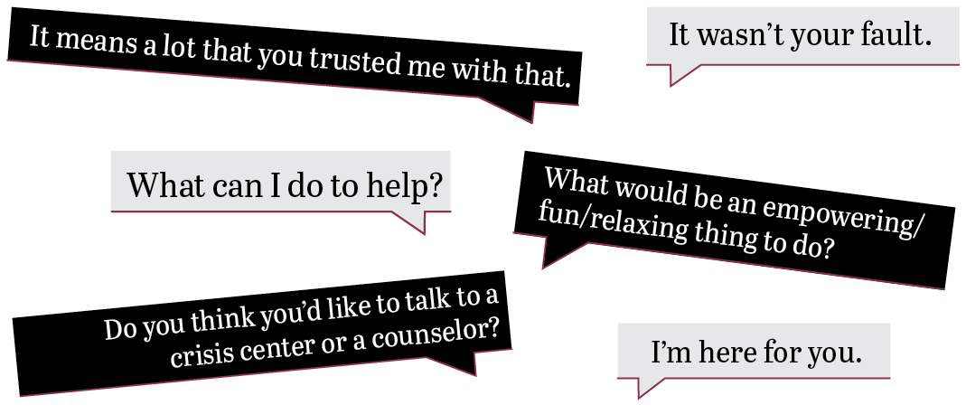 It means a lot that you trusted me with that. What can I do to help? Do you think you'd like to talk to a crisis center or a counselor? It wasn't your fault. What would be an empowering/fun/relaxing thing to do? I'm here for you.