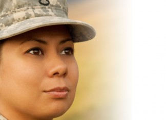 Female soldier looking into distance