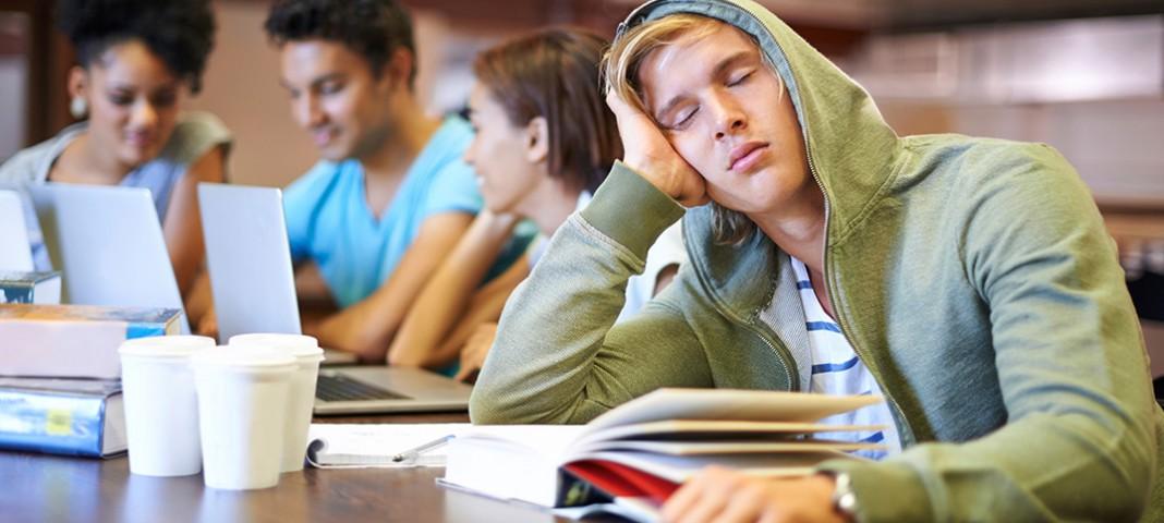 Student falling asleep at desk