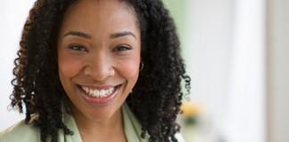 woman looking happy