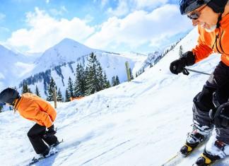 Two men skiing