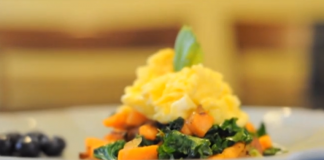 Kale, scrambled eggs, and sweet potato hash