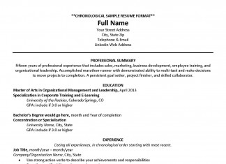 Resume Example: Chronological Resume