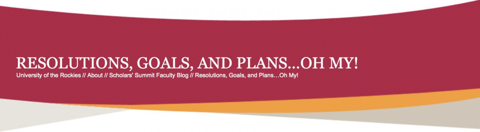Resolutions, goals, and plans... oh my!