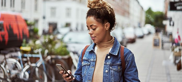 Woman looking at her phone