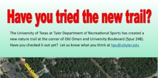 The University of Texas at Tyler Department of Recreational Sports has created a new nature trail at the corner of Old Omen and University Boulevard (Spur 248). Have you checked it out yet? Let us know what you think at hpc@uttyler.edu Eagle's Landing Apartments