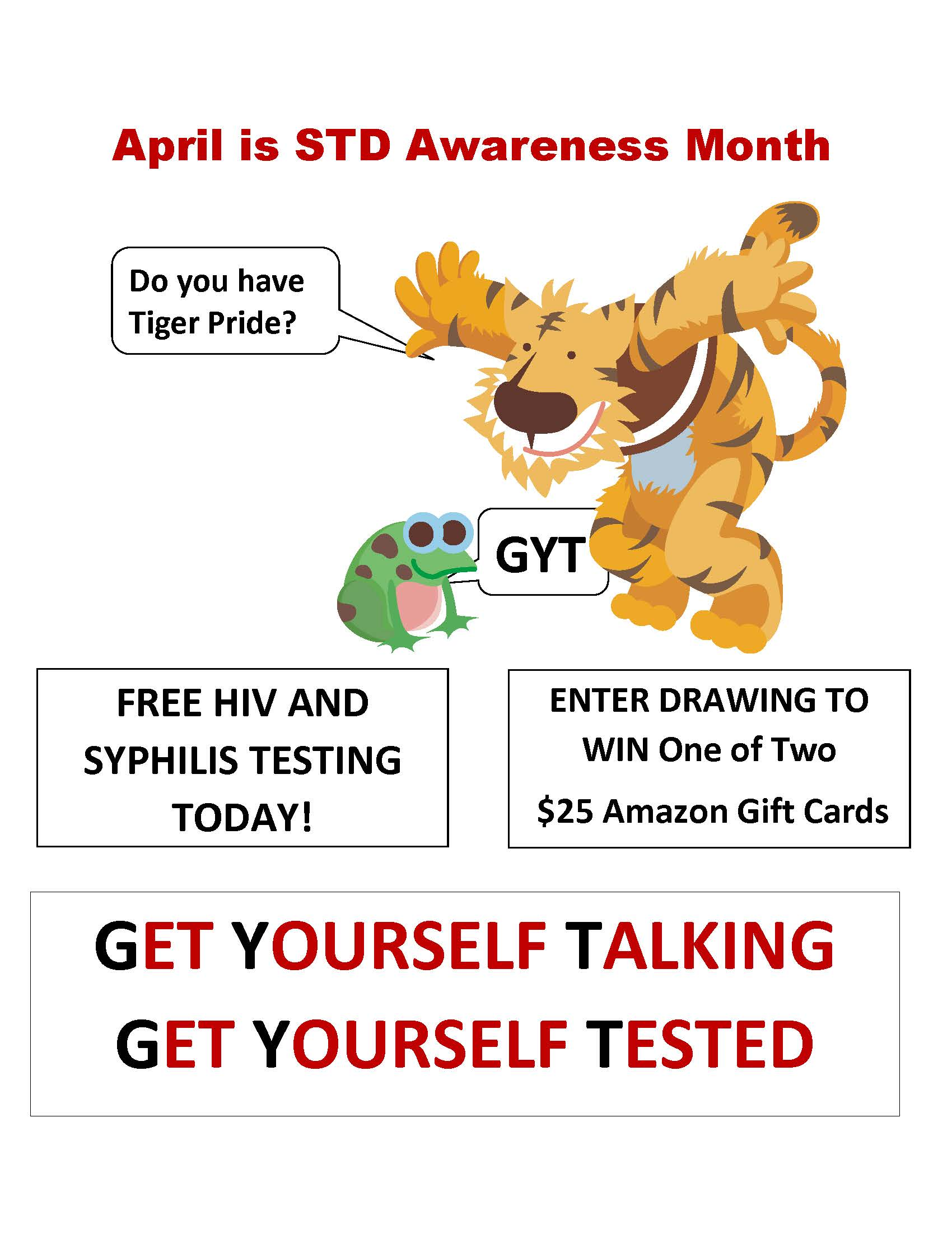 Gyt get yourself tested trinity university trinity tiger announcing std awareness month solutioingenieria Choice Image