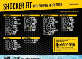 Shocker Fitwith Campus Recreation MONDAY 6:15-7 a.m. | 12-12:45 p.m. | 12-12:45 p.m. | 12-12:45 p.m. | 5:15-6 p.m. | 5:30-6:15 p.m. 5:30-6:15 p.m. 7:15-8 p.m. | 8-9 p.m. | FRIDAY ® BOOTCAMP ® YOGA FLOW ® | PIYOTM | CYCLE ® ® TUESDAY 6:15-7 a.m. | 12-12:45 p.m. | 12-12:45 p.m. | 5:15-6 p.m. | ® ® CYCLE WEDNESDAY ® ® THURSDAY 6:15-7 a.m. | 12-12:45 p.m. | 12-12:45 p.m. | 5:15-6 p.m. | ® ® CYCLE 6:15-7 a.m. | 12-12:45 p.m. | 12-12:45p.m.| BOOTCAMP 12-12:45 p.m. | YOGA FLOW 5:15-6 p.m. | ® ® ® ® Want to keep up with all of your Shocker Fit classes? Download the ® app to manage your classes, get reminders, and share with friends! ® 5:30-6:15p.m.| YOGA 5:30-6:15p.m.| YOGA 6:15-7 p.m. | ® 7:15-8 p.m. | 6:15-7 p.m. | 7:15-8 p.m. | SATURDAY 10:30-11:30 a.m. | 1:15-2:15 p.m. | ® ® ® ® YOGA FLOW ® ® SWIM LESSONS WIth caMpuS rEcrEatION | September 5-30 (M/W) or (T/H) | People of all ages and abilities are invited to take part in swim lessons at the Heskett Center with the Wichita Aqua Shocks. Classes are o ered to patrons in the following categories either in a group, private or semi-private setting. Private (one student per instructor) and Semi-Private (two students per instructor) Lessons are available multiple times a week from 4-8 p.m., Monday/Wednesday or Tuesday/Thursday and 1:30-5 p.m. on Saturday. Group Lessons Lessons are 30 minutes, two days aweek or for one hour on Saturdays during the following four-week sessions. For more information, including pricing: visit the Campus Recreation Guest Services Desk in the Heskett or (316) 978-3082 or wichita.edu/aquatics 6:15-7 a.m. | 12-12:45 p.m. | 12-12:45 p.m. | 5:15-6 p.m. | 5:30-6:15p.m.| PIYOTM 5:30-6:15 p.m. | CYCLE 6:30-7:15p.m.| TURBOKICK 7:15-8 p.m. | ® 8-9p.m.| ® ® NOW-dECEMBER 7 | | A Great Thing for Students & Members |